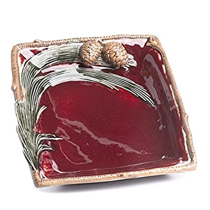 Large Burgundy Ceramic Pinespray Decorative Plate with Faux Ceramic Twig Trim  sc 1 st  Amazon.com & Amazon.com | Large Burgundy Ceramic Pinespray Decorative Plate with ...