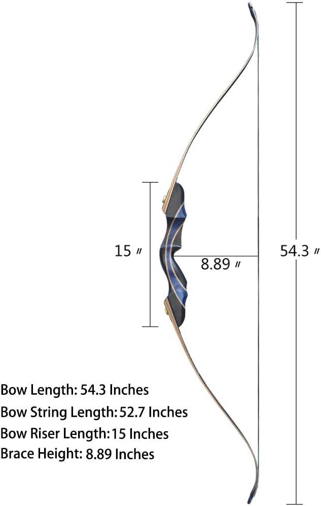 D/&Q Bogenschie/ßen Recurve Pfeil und Bogen Set zum Erwachsene M/änner Frauen Anf/änger 30-50 lbs Jagd Herunter nehmen Long Bow Kit mit Carbon Fiberglas Pfeile Rechte Hand