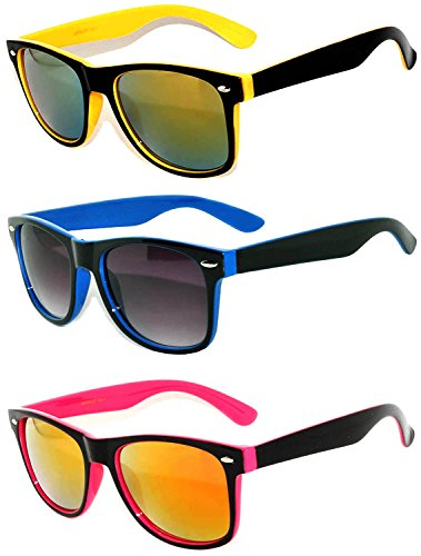 (Retro Vintage Two -Tone Sunglasses Mirror Lens 3 Pairs -Yellow, Blue, Pink)