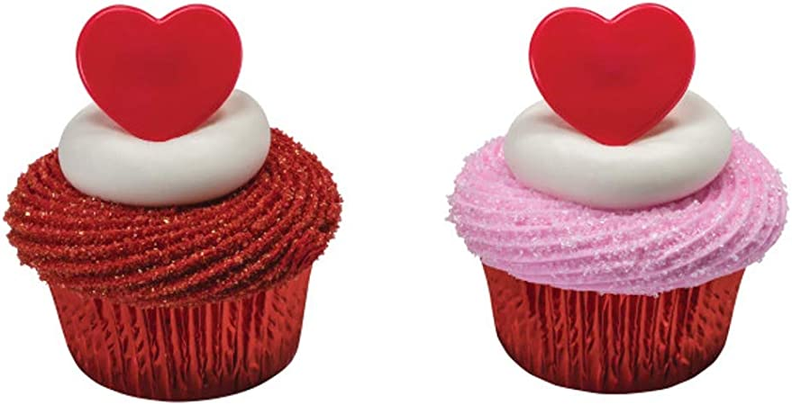 Valentines Day Cupcake Toppers Wedding Cupcake Decoration Red Love You Glitter Pack of 12