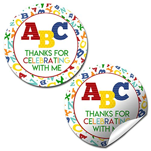 Abc Favors - ABC Alphabet Letters and Learning Birthday Thank You Sticker Labels for Kids, 40 2