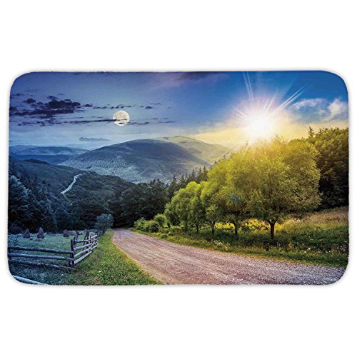 Rectangular Area Rug Mat Rug,Farm House Decor,Day and Night Collage View with Moon and Sun Horizon Countryside Hillside,Green Blue,Home Decor Mat with Non Slip Backing by iPrint