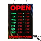 Artistic Open Sign with Business Hours, Black/Red Yellow/Blue Accents (34110)