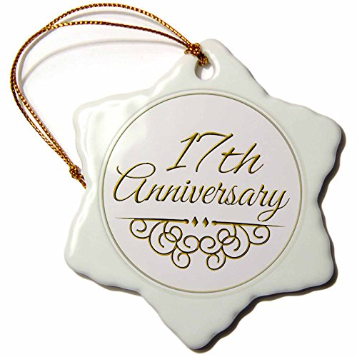 3dRose orn_154459_1 17th Anniversary Gift Gold Text for Celebrating Wedding Anniversaries 17 Years Married Together Snowflake Ornament, Porcelain, 3