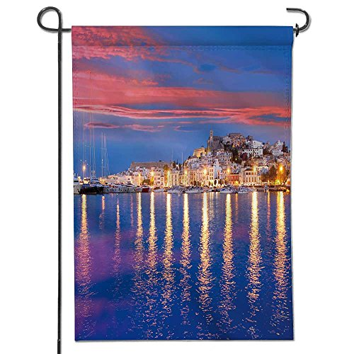 UHOO2018 Flowers Welcome Garden Flag Ibiza Island Night View of Eivissa Town and sea Lights Reflection Vertical Outdoor & Indoor Decorative Double Sided Flag -12