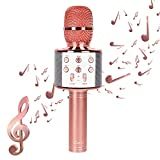 Wireless Karaoke Microphones Speaker - HAITRAL Portable Bluetooth Speaker Microphones Karaoke Machine for iPhone Android PC All Smart Phone Home Birthday Party (Rose Gold)