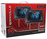 "Pair Rockville RHP91-GR 9"" Digital Panel Gray Car Headrest Monitors w/Speakers"