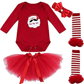 Amazon.com: iEFiEL Baby Girls Long Sleeve Christmas Bodysuit Tutu