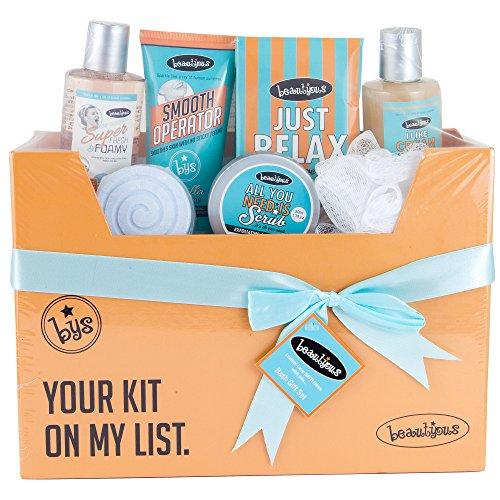 7 Piece Bath Body Spa Gift Basket Box | Shower Gel, Lotion, Cream, Scrub, Crystal, Fuzzer Puff | Gifts For Women Mom Girls Teens Her For Christmas Wedding Anniversary Birthday Graduation