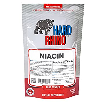 Hard Rhino Niacin Vitamin B3 Powder, 125 Grams (4.4 Oz), Unflavored, Lab-Tested, Scoop Included