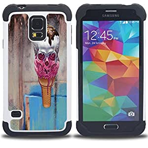 /Skull Market/ - Skull Devil Pattern Sugar Skull Skulls For Samsung Galaxy S5 I9600 G9009 G9008V - 3in1 h????brido prueba de choques de impacto resistente goma Combo pesada cubierta de la caja protec -