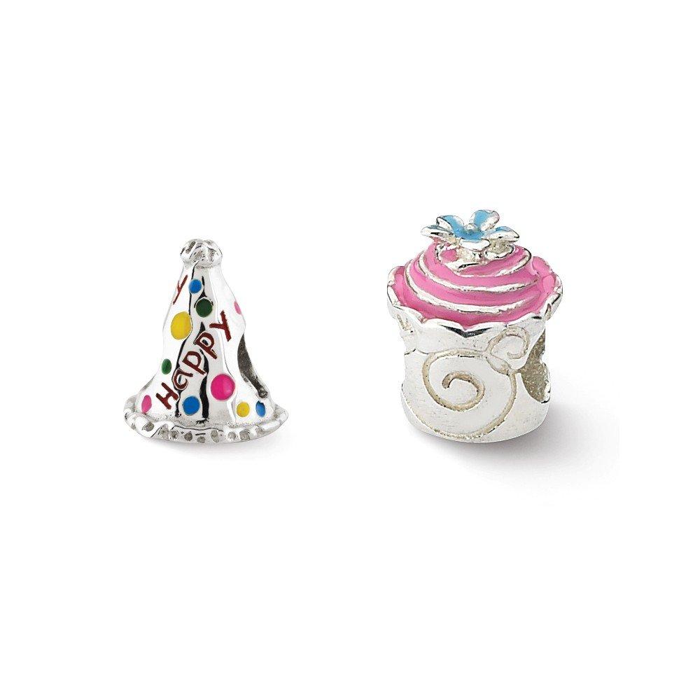 Black Bow Jewelry Sterling Silver /& Enamel Happy Birthday Bead Charm Set of 2