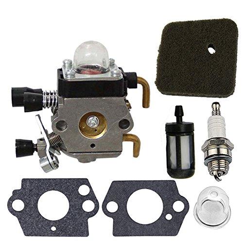 ark Plug + Fuel Filter + Air Filter + Primer Bulb for STIHL FS38 FS45 FS45C FS45L FS46 FS46C FS55 FS55C FS55R FS55RC KM55 HL45 String Trimmer (Grass Fs)