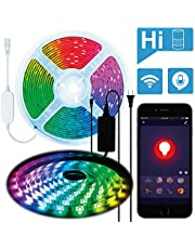 AMANEER LED Strip Lights,Color Changing Rope Lights,Bluetooth Wireless Smart Phone App Controlled Light Strip Kit 16.4ft LED Lights,150leds 5050 Strip Lighting, Android iOS