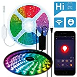 AMANEER WiFi LED Strip Lights, WiFi Wireless Smart Phone APP Controlled 16.4ft Waterproof Light Strip RGB Dimmable 5050 LED Lights,Working with Android and iOS System,Alexa, Google Assistant