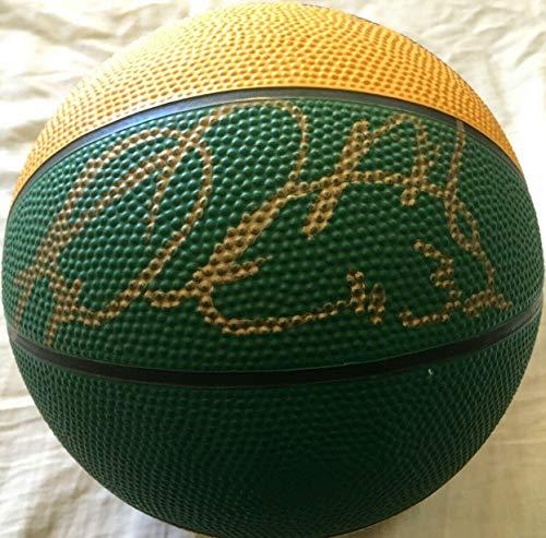 Karl Malone autographed signed Utah Jazz logo mini rubber basketball Letter - JSA Certified - NBA Cut -