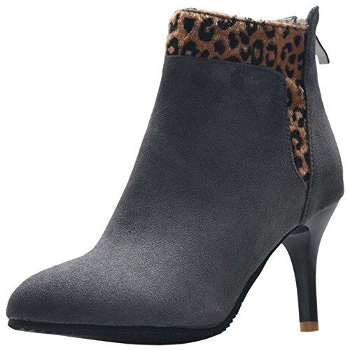 Leopard Fashion Boots High KemeKiss Grey Heels Ankle High Women Dress xCFH7O