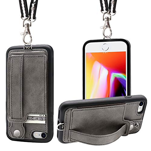 iPhone 7/8 Wallet Case Lanyard Neck Strap TOOVREN iPhone 7/8 TPU Protective Purse Case Cover with Kickstand Leather PU Card Holder Adjustable Detachable Necklace for Anti-Lost and Outdoors Grey