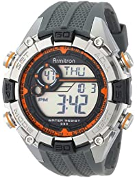 Men's 40/8300ORG Orange and Silver-Tone Accented Grey Resin Strap Chronograph Digital Watch