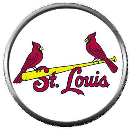 (2 St Louis Cardinals On Bat MLB Baseball Logo 18MM - 20MM Snap Jewelry Charm)