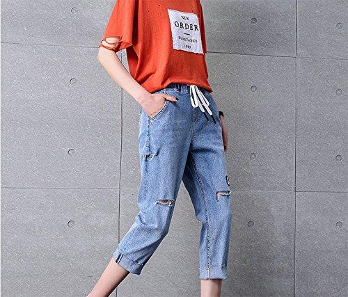 Moda 4 2018 de Agujero Mezclilla Cortos Sueltos de Verano 3 de Harem Pantalones Pantalones Jeans en f5IZaq5