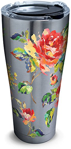 (Tervis 1269481 Fiesta - Floral Bouquet Stainless Steel Tumbler with Clear and Black Hammer Lid 30oz, Silver)