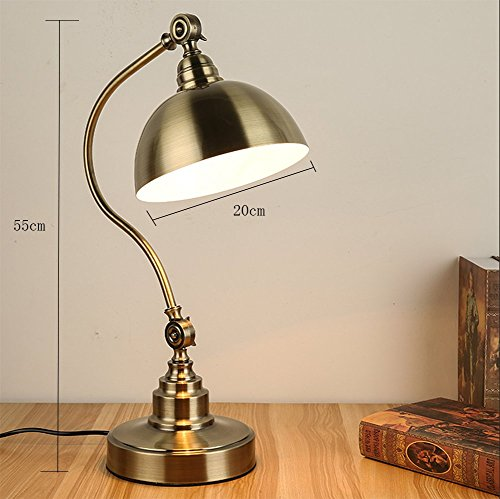 American Style All Copper Table Lamp Bedroom Bedside Study Countryside Retro Eye-Protection Desk Lamp