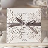 Doris Home wedding invitations cards wedding invitations kit Doris Home Laser Cut Square Wedding Invitations Cards Kits with Bowknot Hollow Favors ,100pcs,WM207