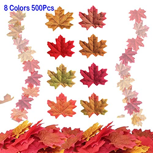 Asonlye 500 Pieces 8 Colors Assorted Fake Silk Autumn Maple Leaves Artificial Fall Leaf Weddings, Events Decorating