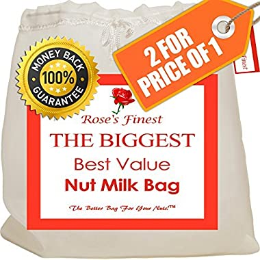 Finest Nut Milk Bag - 2 Pack Large (12  x 12 ) & Medium (12  x 9 ) Reusable & Strong Almond Filter Bags, Nylon Cheesecloth Filter, High Quality Fine Mesh All Purpose Strainer Bag for Cold Brew Coffee