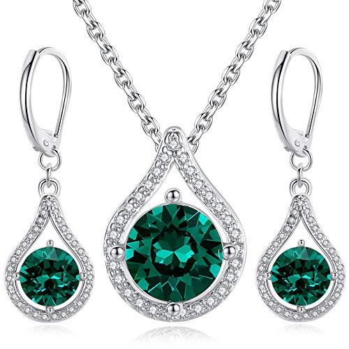 GoSparkling Swarovski Jewelry Set - Pendant Necklace & Teardrop Earrings with Emerald Green Crystal from Swarovski - Teardrop Jewelry Set - Elegant & Tasteful Set - Wonderful Gift Idea