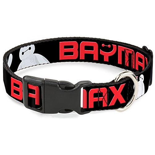 BAYMAX - Collar de plástico con cierre de hebilla, color negro/blanco/rojo, WIDE-LARGE - Fits 18-32 Inch (1.5 Inch WIDE)