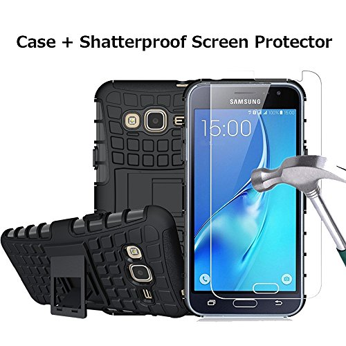 Boonix Case and Screen Protector for Samsung Galaxy J3 2016, J3V, Express Prime, Amp Prime, Galaxy Sol, Sky, J36, J36V, Guard Against Impacts and Drops [Shatterproof Screen Protector + Black Case]