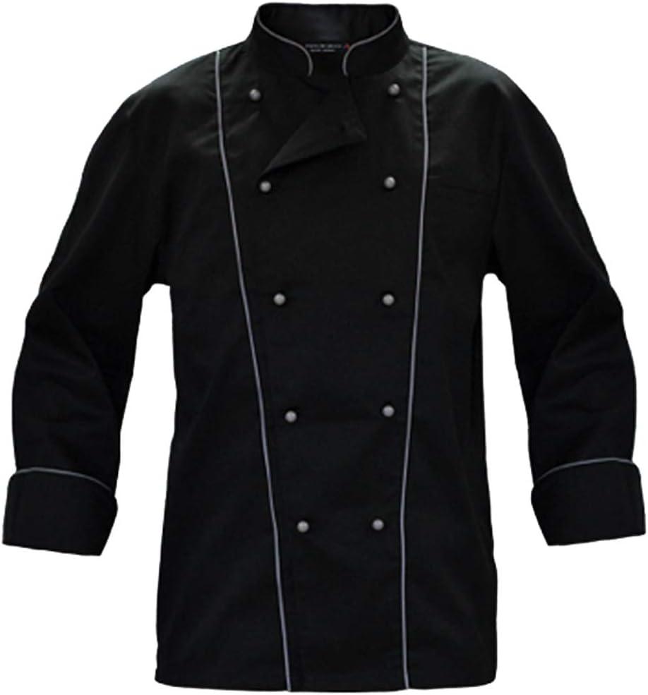 Juego completo de Chaqueta de Cocinero Negra con bordes grises y pantalón negro a rayas grises negro Negro XL: Amazon.es: Deportes y aire libre