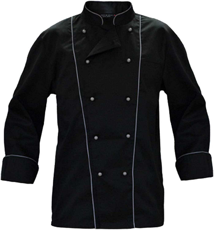 Hunter Completo Giacca Cuoco Nera con bordini Grigi e Pantalone Nero a Righe Grigie