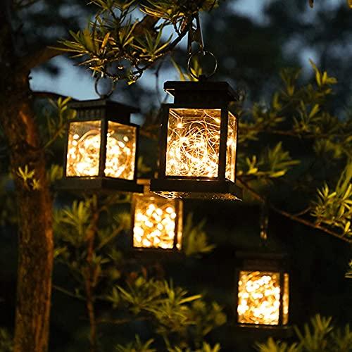 2 Stück Solarlaterne für Außen, 30LED Mini Solar Laterne mit Lichterkette, Solarlampen Hängend Laterne für Garten, IP65 Wasserdicht Solarlampe für Innen/Außen, Rasen, Terrasse Dekor, Hochzeit, Party
