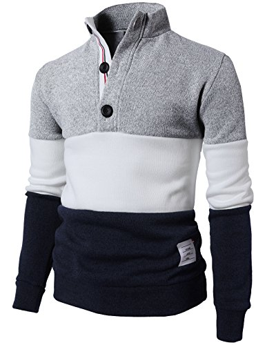 - H2H Men Turtleneck Long Sleeves Pullover Cable Knitted Sweater Gray US L/Asia XL (KMOSWL0167)