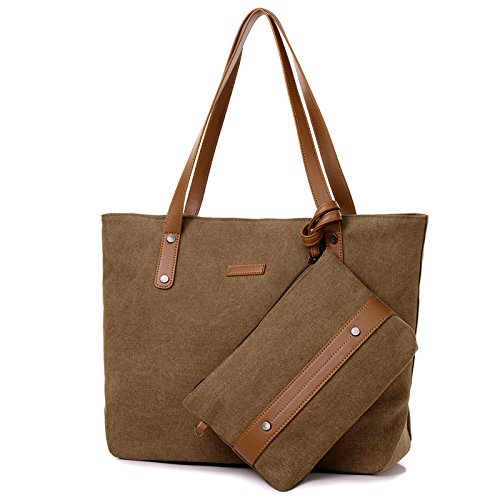 ZhmThs Canvas Shoulder Bag, Casual Big Shopping Bags Tote Handbag Work Bag Travel Bags With Purse Wallet For Women Girls Ladies - Brown