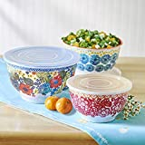 NEW! The Pioneer Woman 6-Piece Bowl Set BPA Free Melamine with FREE BONUS Wooden Measuring Spoons! (1, Dazzling Dahlias)