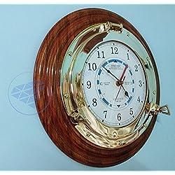 Nautical Time Tide Clock On Premium Wooden Base - Polished Brass Porthole Wall Hanging Decor Nagina International (14 Inches)