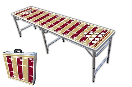 8-Foot Professional Beer Pong Table w/ Holes - San Francisco Football Field Graphic