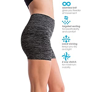 Homma Women's Seamless Compression Heathered Active Yoga Shorts Running Shorts Slim Fit (medium, H.Black)
