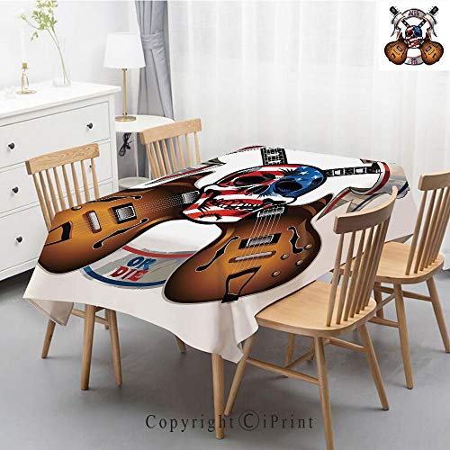 (Print Series Rectangle Tablecloth Cotton and Linen Dust proof Absorption Table Cover for Photography Background Dining,47x63 Inch,Guitar,Crossed Electric Guitars with Skull American Flag Live Free Or)