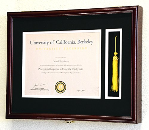 Graduation Diploma and Tassel Frame Display Case 11 x 8.5 w/Custom Matting (Cherry ()