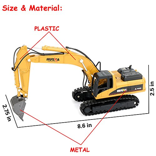 1/50 Scale Diecast Crawler Excavator Construction Vehicle Car Models Toys for Kids by HuiNa (Image #4)