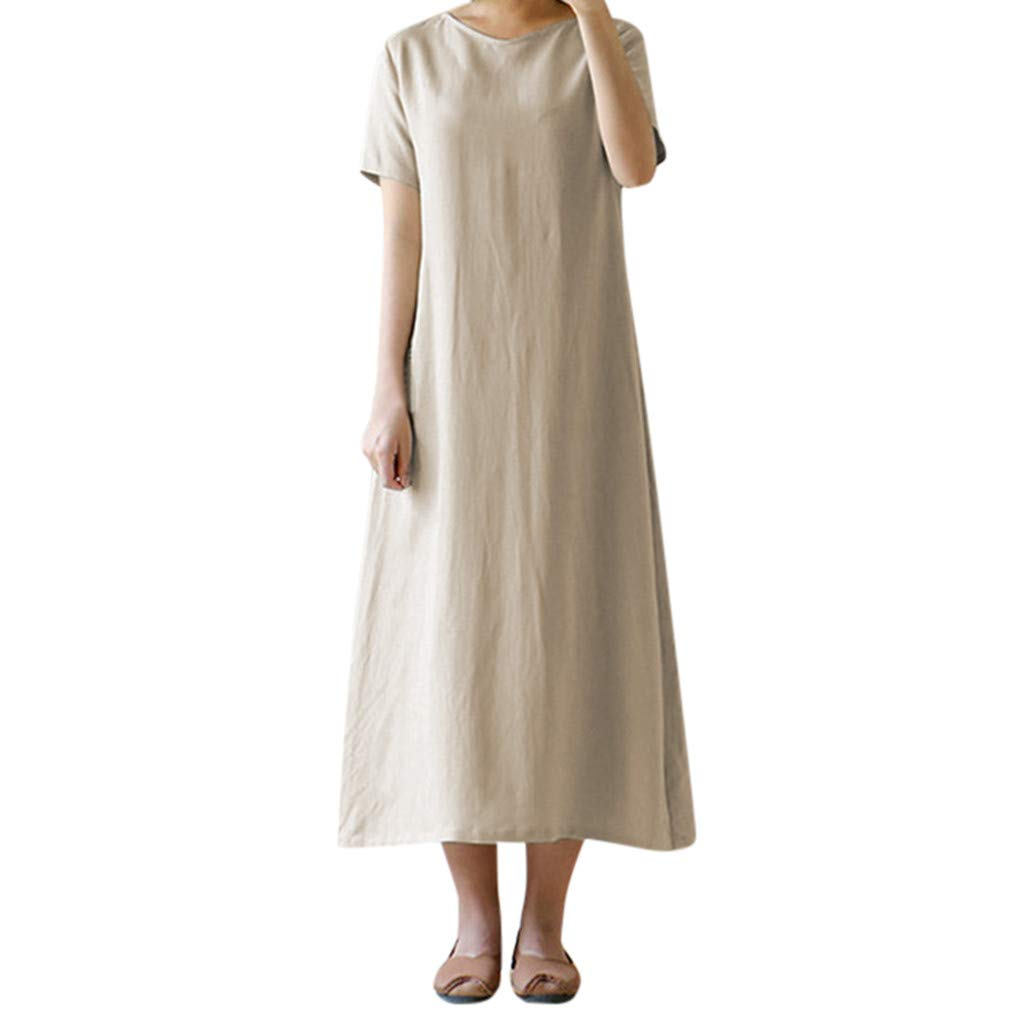 Nmch Women Summer Short Sleeve Solid Loose Maxi Dress Daily Casual O-Neck Long Dresses Holiday Brief Dress 2019 New(Khaki,XL)