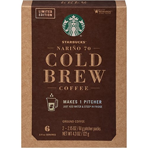 Starbucks Cold Brew, ground coffee for cold coffee 4.3oz(2.15oz x 2), pack of 1 (Starbucks Narino 70 Cold Brew Pitcher Packs)
