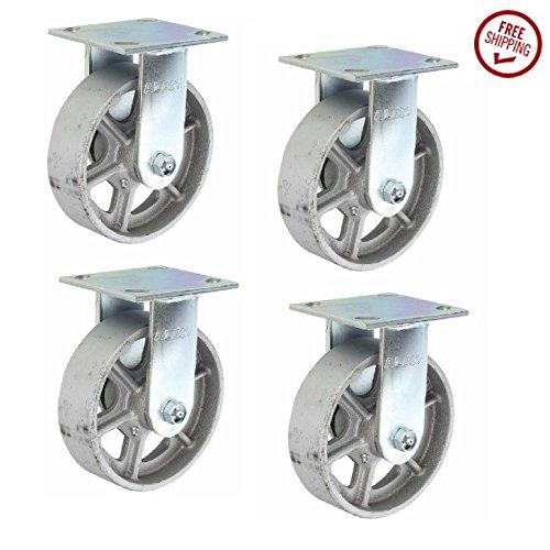 Albion-16-Series-6-Diameter-Cast-Iron-Wheel-Medium-Heavy-Duty-Zinc-Plate-Rigid-Caster-Roller-Bearing-4-12-Length-X-4-Width-Plate-1250-lbs-Capacity-Pack-of-4