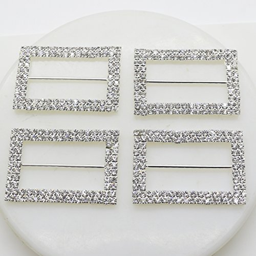 AngHui ShiPin 10pcs 40X28mm A-Grade Silver Rectangle Shape Double-Breasted Rhinestone Buckle Diameter 5cm for Chair Sash Bow DIY Craft Supply for Wedding Decoration Clothes&Shoes Accessories ()