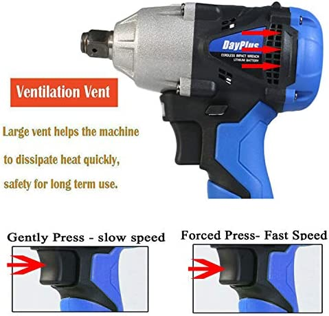 Cordless Impact Wrench, 18V 1/2 Inch High Torque Wrench Driver Set, 6000mAH Lithium Battery, 420N.M 1/2